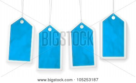 Set Of Four Blue Paper Price Tags
