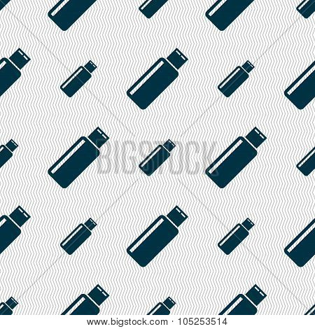 Usb Sign Icon. Flash Drive Stick Symbol. Seamless Abstract Background With Geometric Shapes. Vector