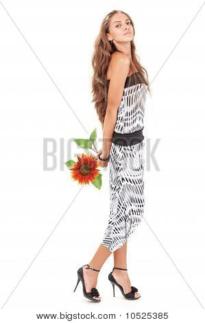 Young Beautiful Lady In Harem Pants With Sunflower Full-length S