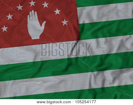 Closeup of ruffled Abkhazia flag
