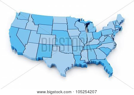 Map of USA with state borders