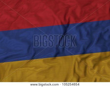 Closeup of ruffled Armenia flag