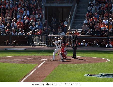 Baseball Batter Buster Posey Stands In The Batters Box