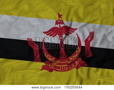 Closeup of ruffled Brunei flag