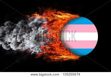 Flag With A Trail Of Fire - Trans Pride