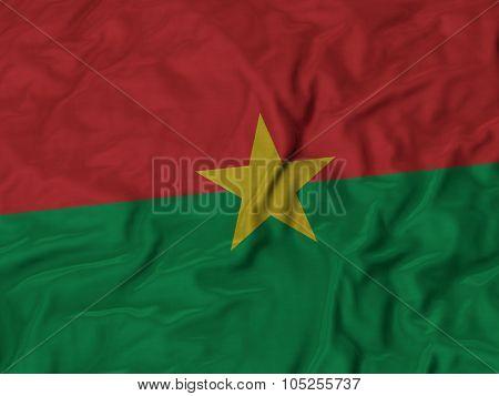Closeup of ruffled Burkina Faso flag