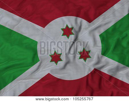 Closeup of ruffled Burundi flag