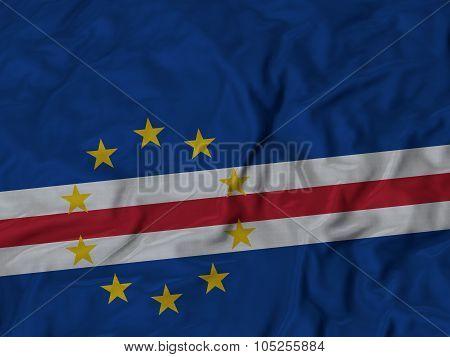 Closeup of ruffled Cape Verde flag