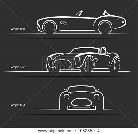 Set of vintage classic sports car vector silhouettes