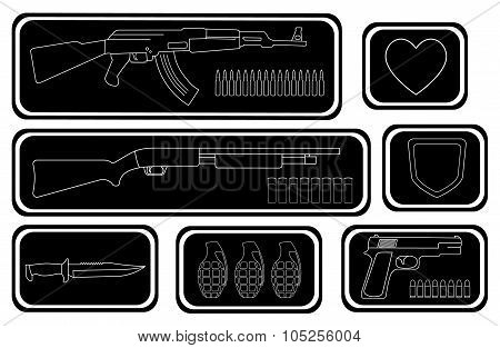 Video games guns icons