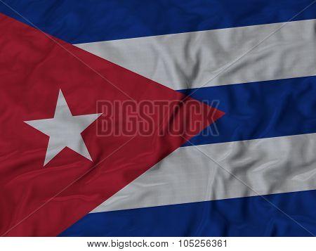 Closeup of ruffled Cuba flag