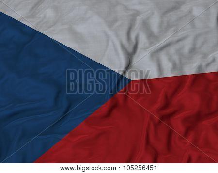 Closeup of ruffled Czech Republic flag