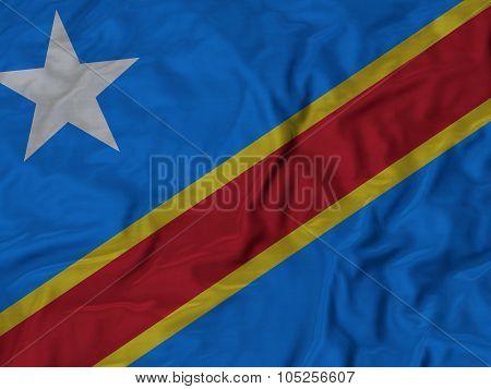 Closeup of ruffled Democratic Republic of the Congo flag