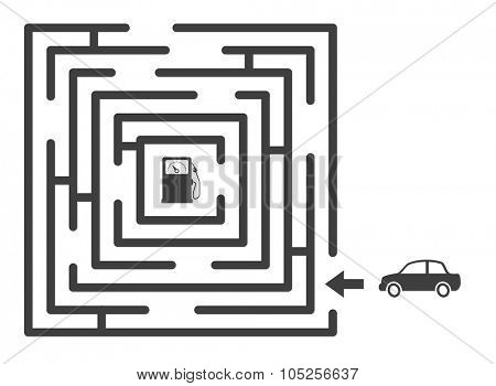 maze labyrinth with car and gas station game concept