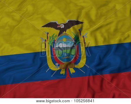 Closeup of ruffled Ecuador flag