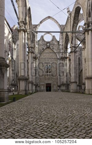 Interiors Of The Roofless Carmo Convent In Lisbon