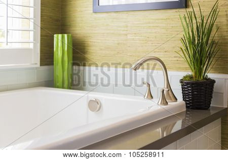 Beautiful New Modern Bathtub, Faucet and Subway Tiles.