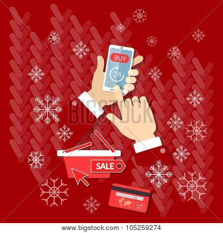 Christmas Sale Buy Now Internet Shopping Online Store E-commerce Process Hands Using Smart Phone