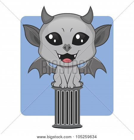 Cute gargoyle Halloween monster mascot