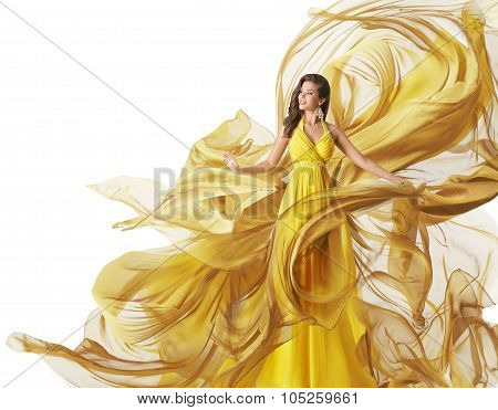 Fashion Model Dress, Woman Flowing Fabric Gown, Clothes Flow, White Yellow