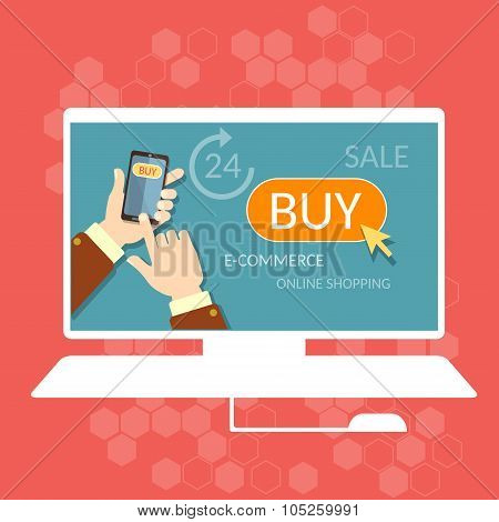Internet Shopping Buy Now Online Store E-commerce Process Men Hand Holding Modern Mobile Phone
