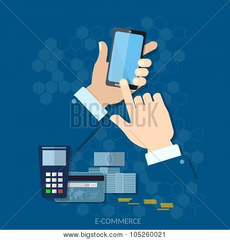 Nfc Payment Modern Smartphone With Processing Of Mobile Payments From Credit Card On The Screen