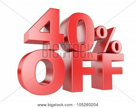 40 Percent Off 3D Icon.