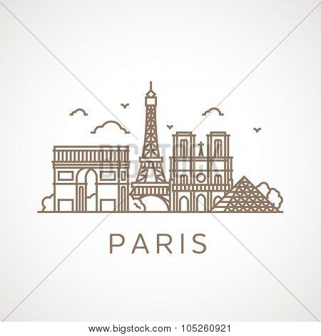 Trendy line illustration of Paris with different famous buildings and places of interest. Modern vector line-art design.