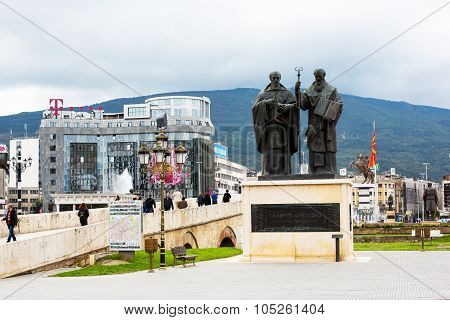 Saints Cyril and Methodius statue  in downtown of Skopje