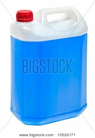 Big Rectangular Volume With Blue Liquid Isolated On White