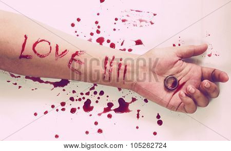 Female suicide with love messages , Knife and a ring on the hand