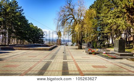 Great Patriotic War Memorial and Lenin monument in Pyatigorsk, Russia