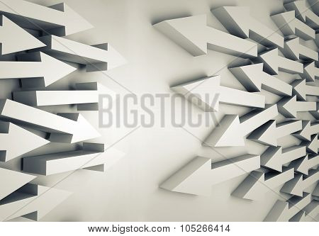 Groups Of White Arrows Going Towards Each Other
