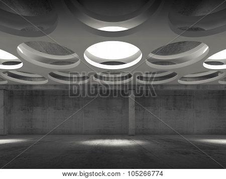 Empty Dark Concrete Hall Interior, Front View