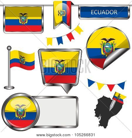 Glossy Icons With Flag Of Ecuador