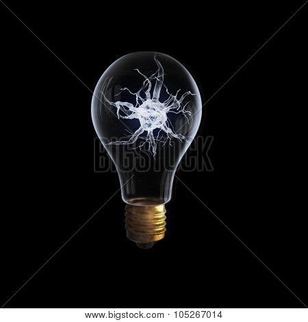 Idea concept with nerve inside of light bulb on black background