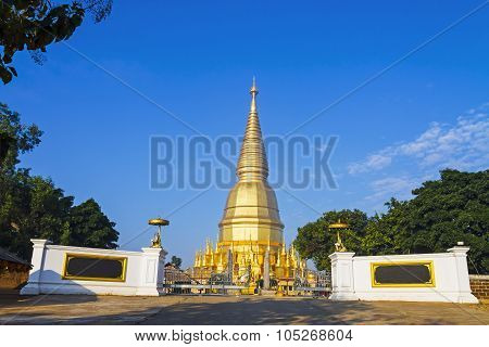 Pagoda Golden With Blue Sky