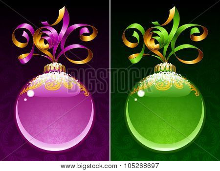 Christmas and New Year circle frame. Vector ribbon in the shape of 2016 and glass ball. Purple and green
