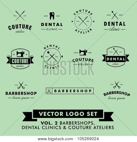 Barbershop, Couture Atelier and Dental Clinic Vector Logo Set