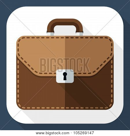 Briefcase Icon With Long Shadow