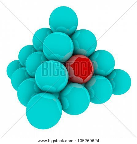 Red ball in blue pyramid or stack of spheres to illustrate being stuck in the middle of the competition
