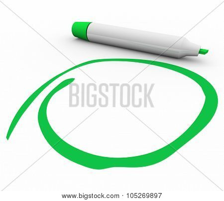 Green marker or pen circling, highlighting, stressing or undersoring your important message or text with blank copy space