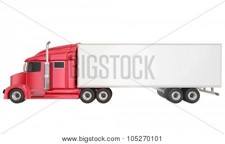 Red cab on isolated 18 wheeler big rig Class 8 truck with blank copy space on trailer for your text or message