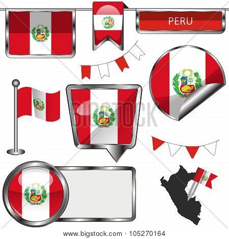 Glossy Icons With Flag Of Peru