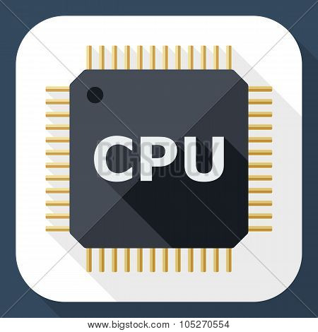 Cpu Icon With Long Shadow