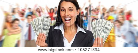 Happy laughing woman holding dollars over people group background