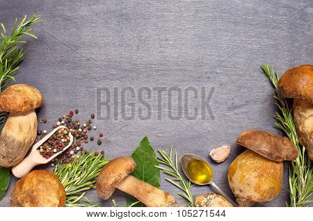 Fresh Mushrooms Boletus With Condiment, Olive Oil And Rosemary