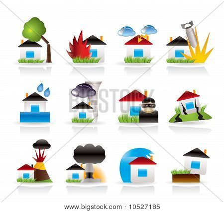 home and house insurance and risk icons