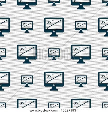 Diagonal Of The Monitor 27 Inches Icon Sign. Seamless Abstract Background With Geometric Shapes.
