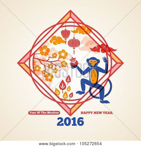 2016 Happy Chinese New Year Greeting Card with Monkey